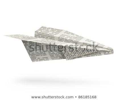 Paper origami airplane. Newspaper Handicraft Stock photo © Aleksangel