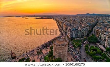 Thessaloniki schemering Griekenland reflectie zee schemering Stockfoto © joyr