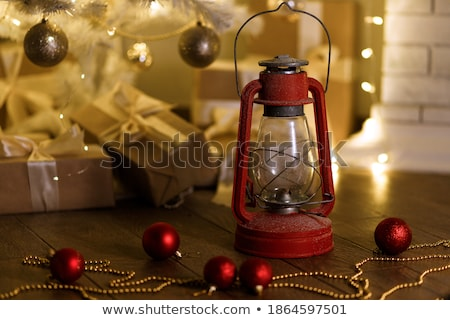 Noel kırmızı boncuk ahşap ahşap Stok fotoğraf © Yatsenko