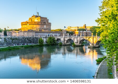 Castel Sant'Angelo reflecting in Tiber river, Rome, Italy Stock photo © Xantana