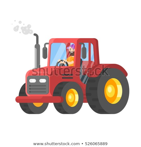 Vector flat style illustration of tractor-driver. Stock photo © curiosity