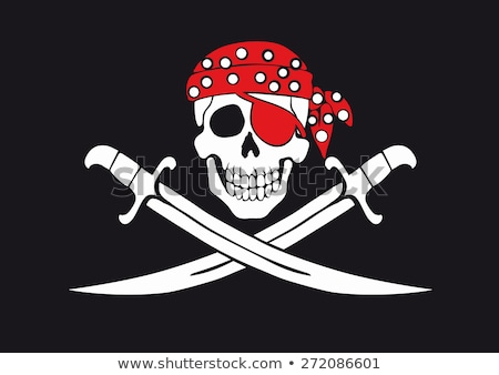 Danger pirate skull in red bandanna and crossbones Stock photo © ayaxmr