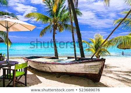 amazing tropical holidays. Beach restaurant with old boat. Mauritius island stock photo © Freesurf