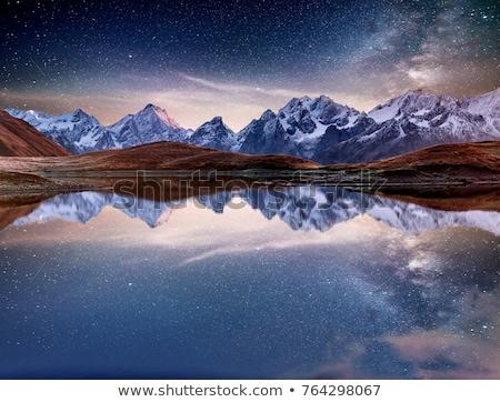 majestueus · berg · meer · avond · hemel · water - stockfoto © andreonegin