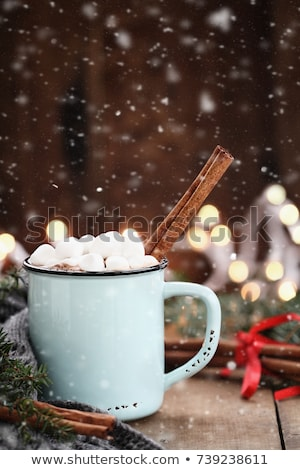 Cocoa with Marshmallows and Cinnamon Bark with Falling Snow Stock photo © StephanieFrey
