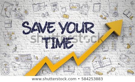 save your time on white brick wall stock photo © tashatuvango
