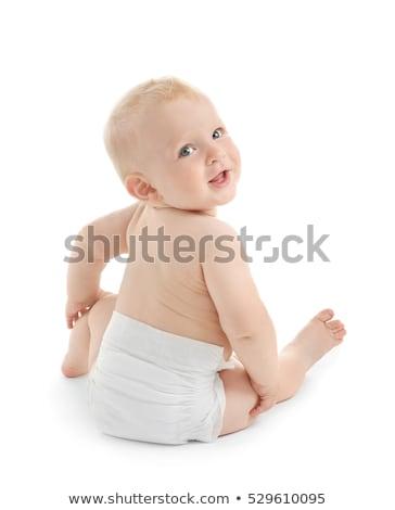 небольшой мальчика подгузники ребенка сидят белый Сток-фото © Traimak