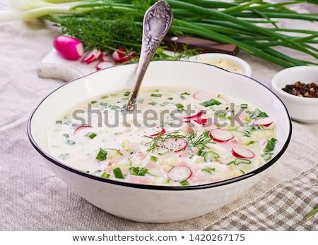 Summer  cold soup with radish, cucumber, and dill. Okroshka Stock photo © Valeriy
