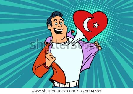 Turcja patriota mężczyzna sportowe fan banderą Zdjęcia stock © rogistok