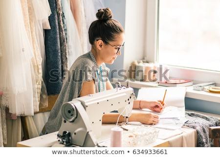 Vrouw patroon krijttekening weefsel mensen handwerk Stockfoto © dolgachov