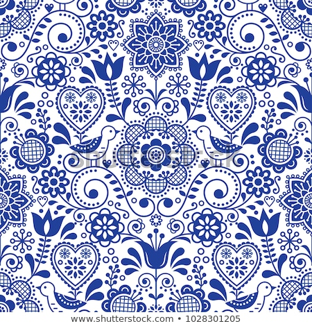 Scandinavian seamless folk art vector pattern, floral repetitive background with birds and flowers,  Stock photo © RedKoala