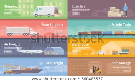 Freight road trucking logistics and management set Stock photo © studioworkstock