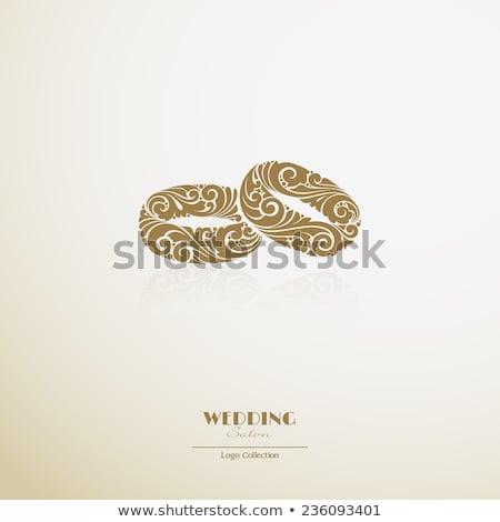 Foto stock: Simple · decorativo · anillos · de · boda · iconos · colección · hombre