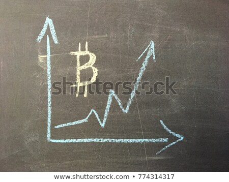 Rate of bitcoin growth graph on black chalkboard stock photo © Valeriy