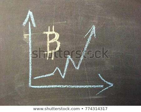 Gyakoriság bitcoin növekedés grafikon fekete tábla Stock fotó © Valeriy