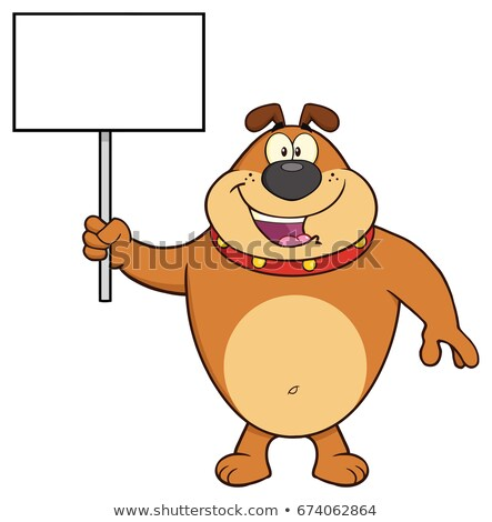 happy brown bulldog cartoon mascot character holding a blank sign stock photo © hittoon