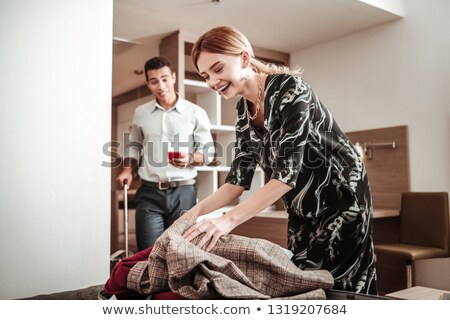 volwassen · paar · hotelkamer · slaapkamer · beweging · spelen - stockfoto © is2