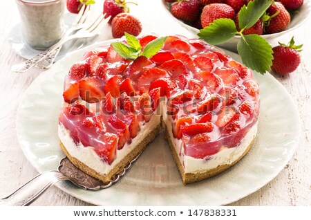 Foto stock: Morango · torta · creme · comida · fundo · bolo