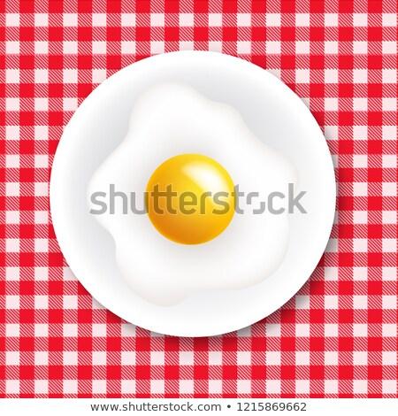 赤 白 テーブルクロス プレート 勾配 ストックフォト © barbaliss