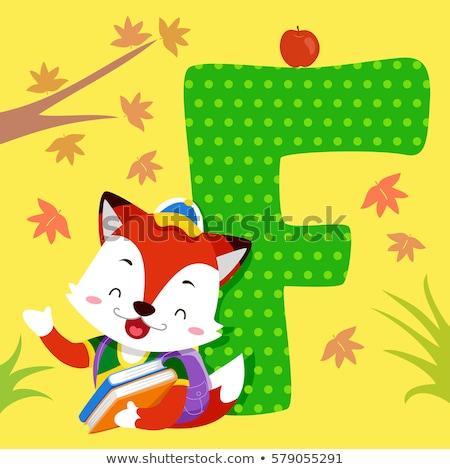 Alfabeto piastrelle Fox libri illustrazione Foto d'archivio © lenm