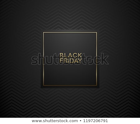 black friday luxury banner golden text on black square label frame dark geometric zigzag pattern stock photo © iaroslava