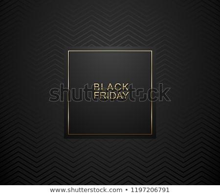 Black Friday luxury banner. Golden text on black square label frame. Dark geometric zigzag pattern Stock photo © Iaroslava