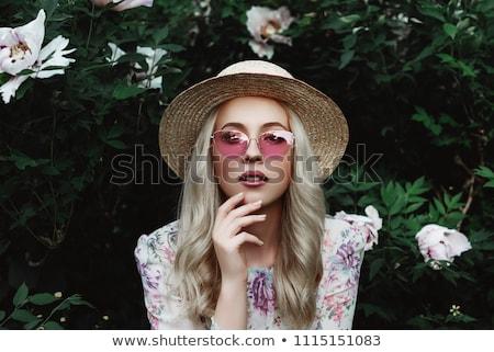 Stockfoto: Mooie · blond · groene · jurk · gebreid