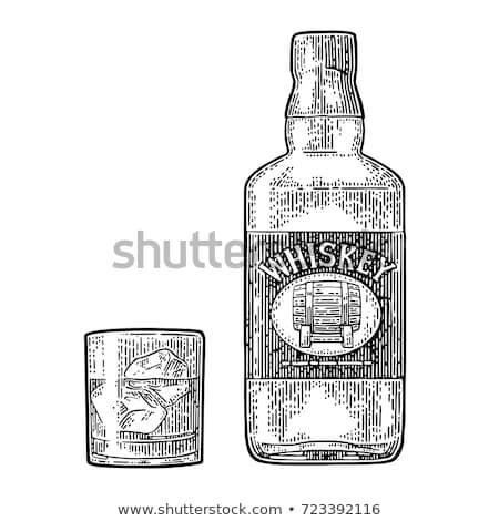 Vidrio whisky cigarro superior piedra Foto stock © dash