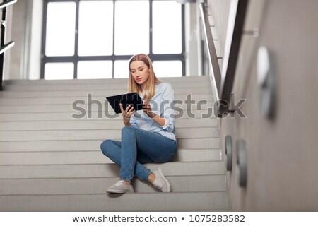 Nő diák táblagép iroda lépcsősor technológia Stock fotó © dolgachov