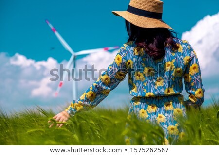 Kız rüzgar türbini alan soyut doğa manzara Stok fotoğraf © Massonforstock