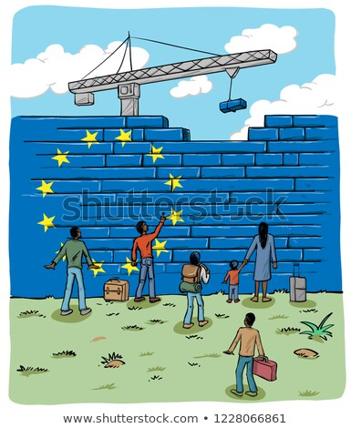people refugees in front of an european wall flag  Stock photo © doomko