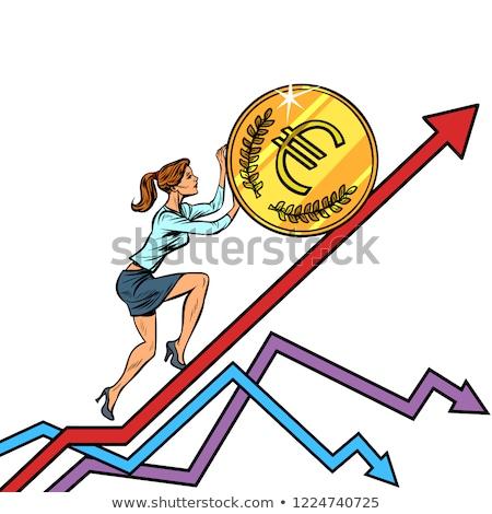 woman businesswoman roll a euro coin up Stock photo © studiostoks