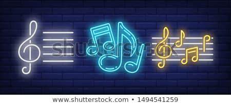 karaoke · bar · neon · afiş · dizayn · müzik - stok fotoğraf © anna_leni