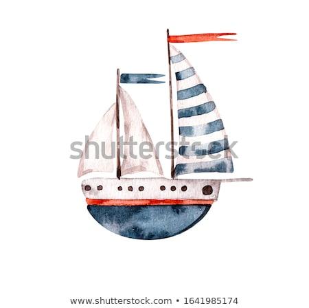 Foto stock: Red Paper Boat In Sea Water Logo