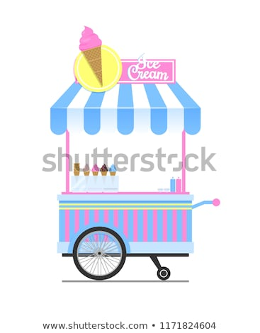 アイスクリーム ワゴン スケッチ 孤立した 白 背景 ストックフォト © robuart