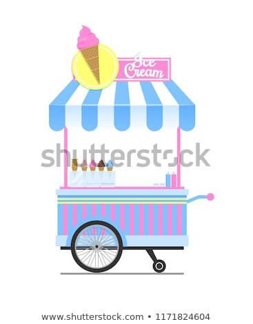 Ice Cream Wagon Sketch Isolated on White Backdrop Stock photo © robuart