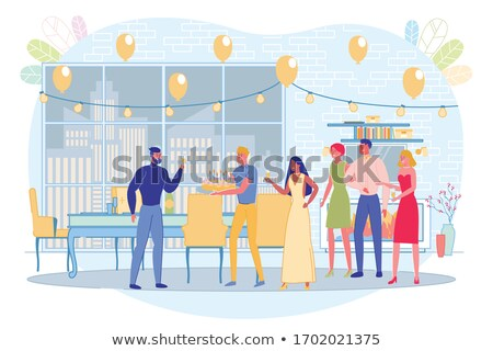 Man Holding Hand of Woman and Saying Toast Vector Stock photo © robuart