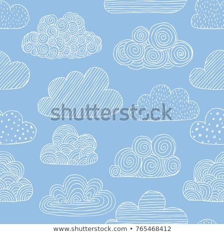 vektor · szett · kék · aranyos · végtelenített · minták · időjárás - stock fotó © lemony