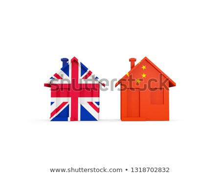 Two houses with flags of United Kingdom and china Stock photo © MikhailMishchenko