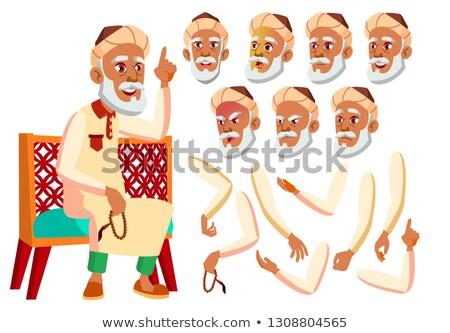 arab · moslim · oude · man · ingesteld · vector · ouderen - stockfoto © pikepicture