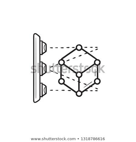 3D · rabisco · ícone · cubo - foto stock © RAStudio