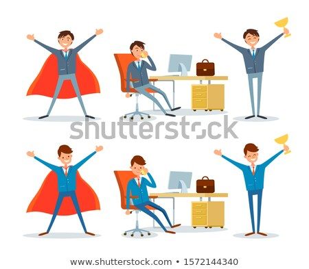 Man Working by Office Table, Business Superman Stock photo © robuart