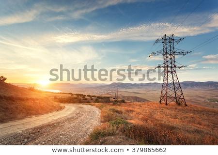 Yaz gün batımı elektrik kule sahne Stok fotoğraf © artush
