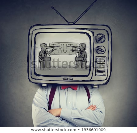 Addicted to fake news man with television instead of his head watching TV  Stock photo © ichiosea