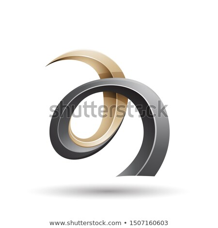 Black and Beige Curled Ivy Like Letter A Icon Stock photo © cidepix