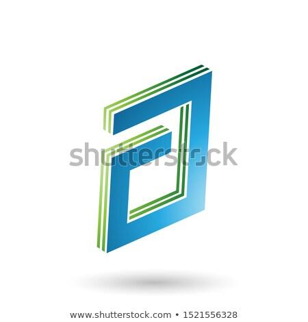 Vert bleu rectangulaire lettre design Photo stock © cidepix