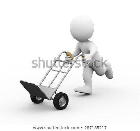 3d man running with hand truck Stock photo © ribah