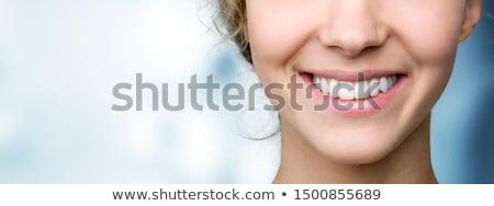 vrouw · glimlach · tanden · mooie · vrouw · glimlach · gezonde - stockfoto © Kurhan