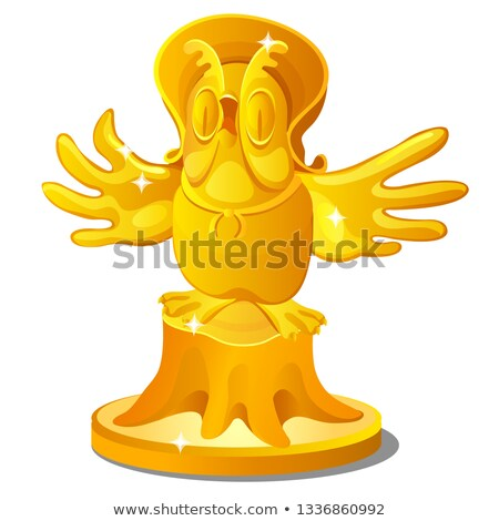 Golden statue of an old owl on a stump with a hat isolated on white background. Vector cartoon close stock photo © Lady-Luck