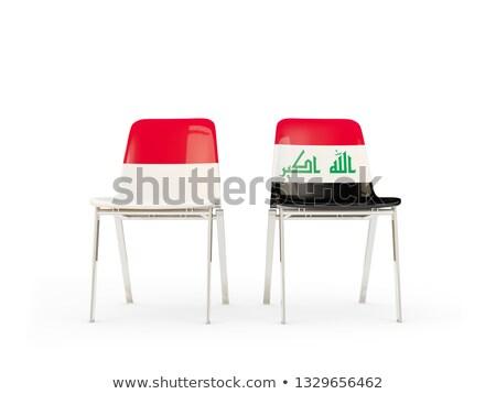 Dois cadeiras bandeiras Indonésia Iraque isolado Foto stock © MikhailMishchenko